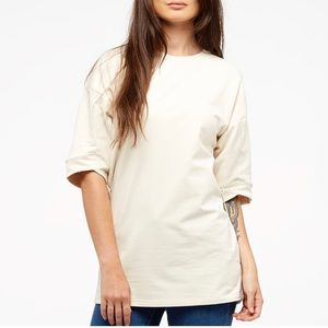 Puma Short Sleeve Lace Up Crew Neck Tan Sweatshirt